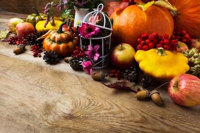 Fall arrangement with pumpkins, rowan berries, barberry, copy sp