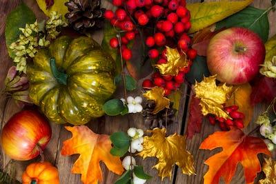 Thanksgiving greeting with green pumpkin, apples, rowan, white b