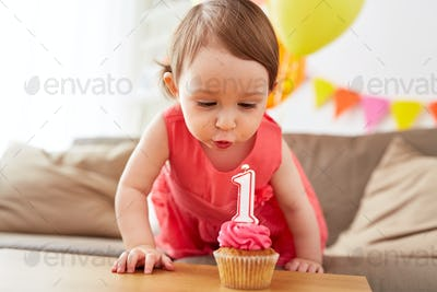 girl blowing to candle on cupcake at birthday