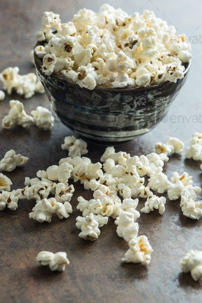 Popcorn in ceramic bowl.