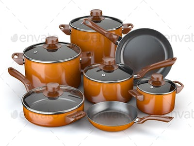 Pots and pans. Set of cooking kitchen utensils and cookware.