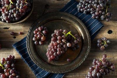 Raw Purple Organic Red Wine Grapes
