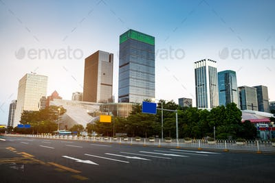 The road and urban background