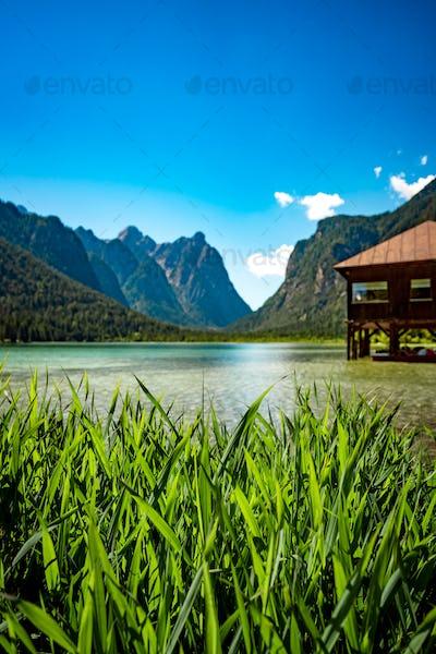 Lake Dobbiaco in the Dolomites, Italy