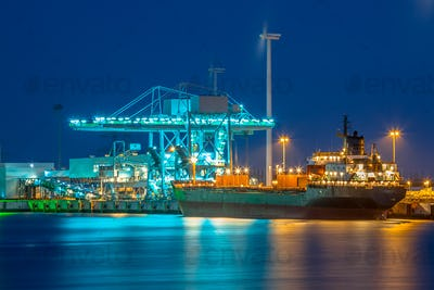 Freight Ship in a harbor at night
