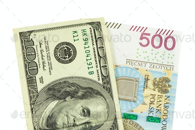Banknotes of 100 USD and 500 PLN