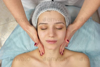 Top view of face massage