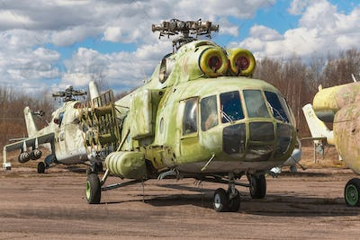 Abandoned broken russian heavy transport helicopter