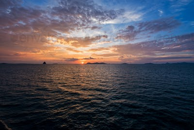 Sunset over the sea in Thailand