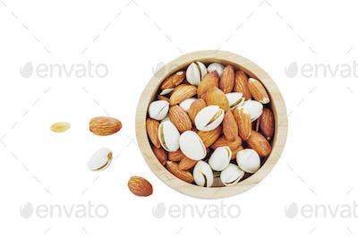 Almond mixed on white background