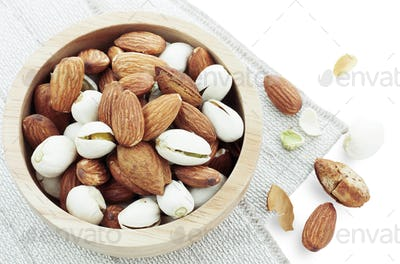 Almond on tablecloth