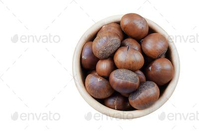 Chestnuts roasted on white background