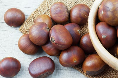 Roasted chestnuts on sackcloth