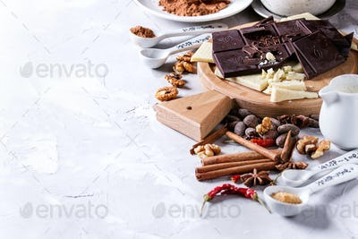 Ingredients for hot chocolate