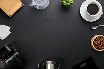 Coffee Maker And Equipment On Gray Background