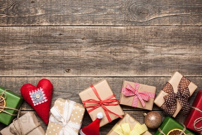 Christmas background with gift boxes and christmas decorations