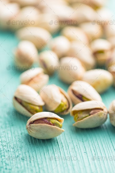 Dried pistachio nuts.