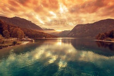 Beautiful sunset at Bohinj lake in Slovenia