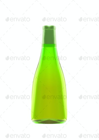 bottle of absinthe isolated on white