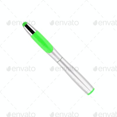 Green marker on a white background