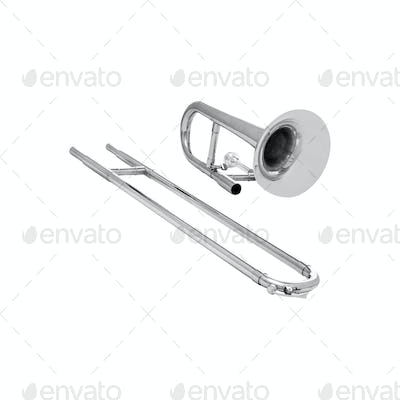 Silver trumpet isolated on white