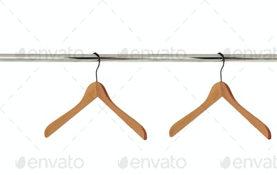 wooden hangers for clothes isolated