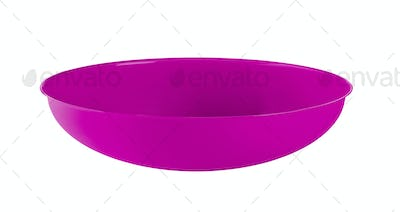 Bright violet plastic empty bowl on a white background