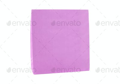 purple shopping paper bag isolated on white background