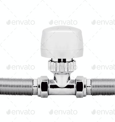 fitting metal pipe on a white background