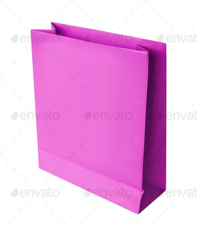 purple shopping paper bag isolated