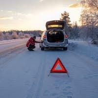 Broken on a snowy winter road