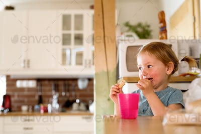 Little girl at home eating a snack.