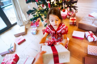 Little girl under the Christmas tree receiving a present.