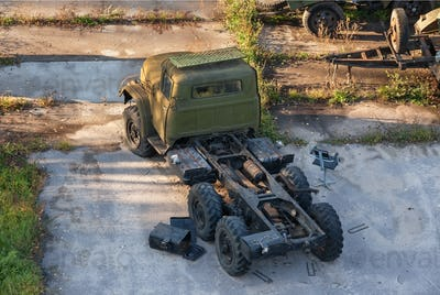 Russian rusty old army truck