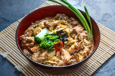 Oyakodon, Chicken and egg bowl, Japanese food, close view.