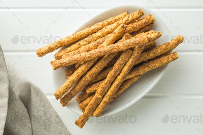 Salty pretzel sticks.