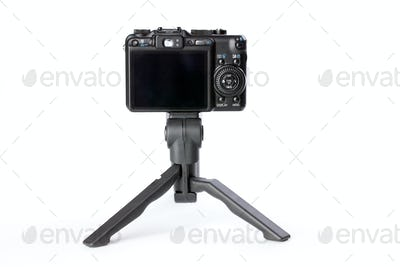digital camera on tripod