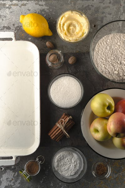 Ingredients for American apple pie for Thanksgiving Day