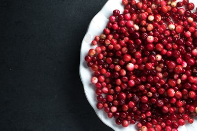 Red cranberries on a ceramic white plate on a gray background free space