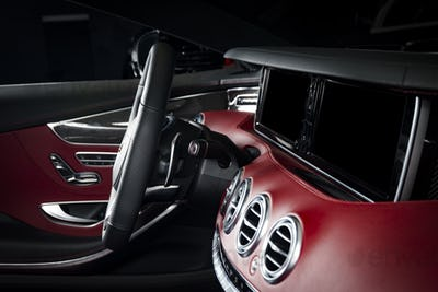Modern race car red leather interior
