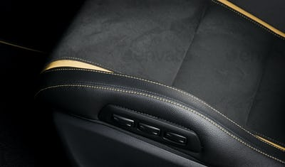 Modern race car interior. Sport seat details stitch