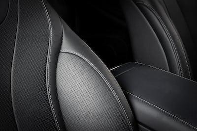 Modern sport car  black leather interior.