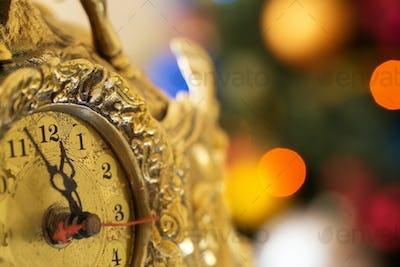 Happy New Year, clock before midnight