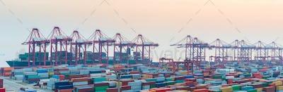 port of shanghai yangshan at dusk