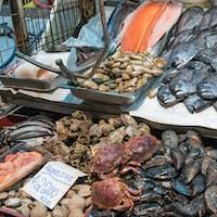 Shellfish, seafood and fish at a market