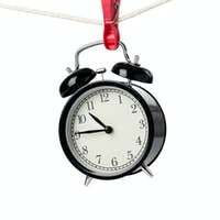 alarm clock on the clothesline