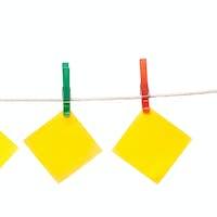 notepaper hanging on clothesline