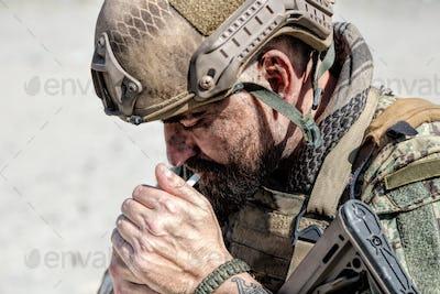 Army soldier smoking