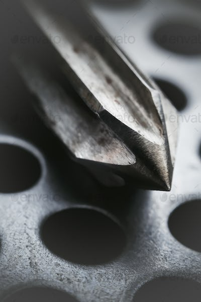 Drill-reamer at factory workshop