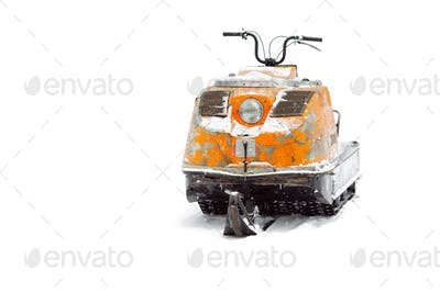 Old snowmobile. Isolated on white background